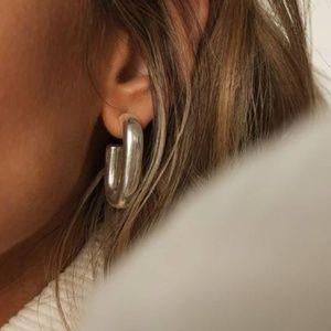 Pilgrim 'Ran' Chunky Silver Oblong Hoop Earrings